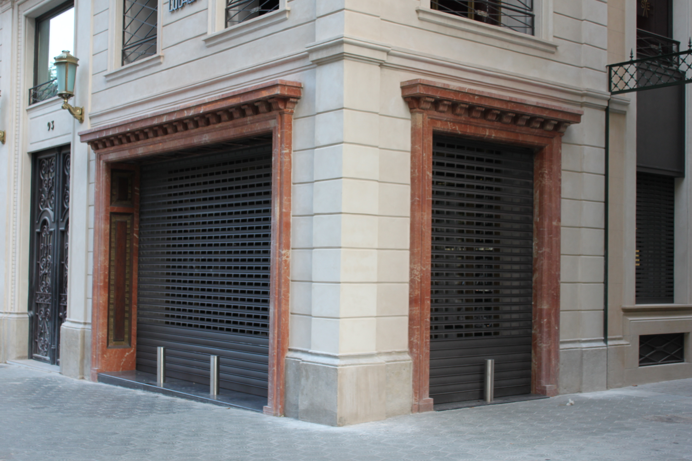 Security bollards installed in the luxury store